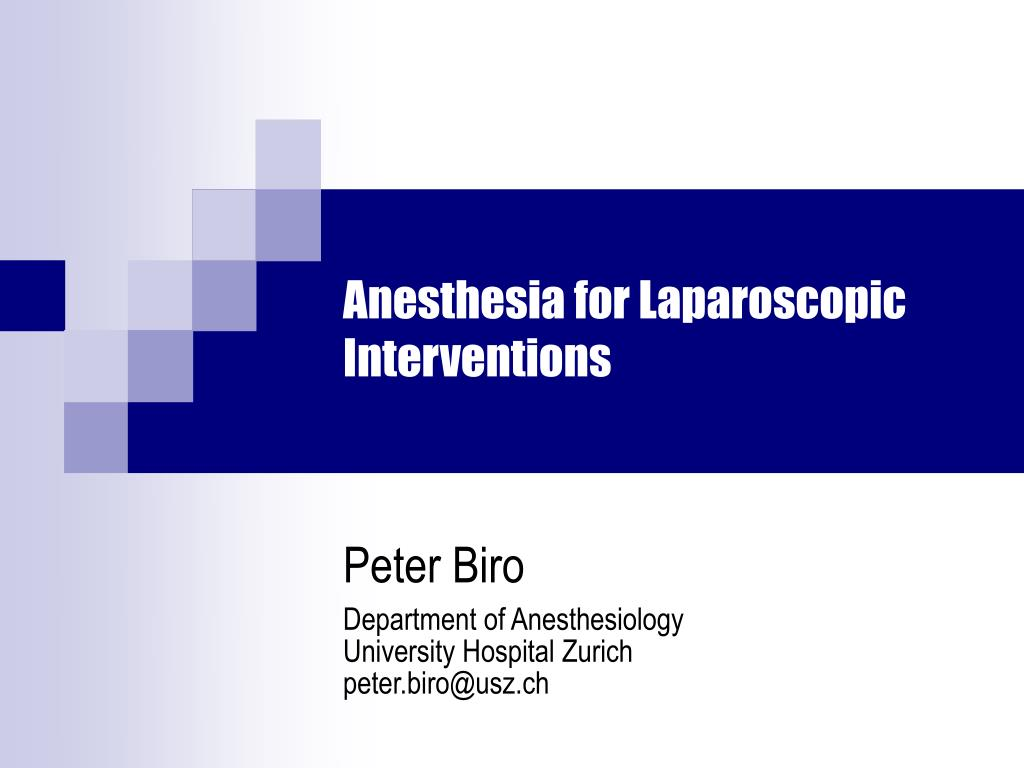anesthesia for laparoscopic interventions l.