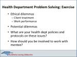 health department problem solving exercise