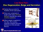 low back pain disc degeneration bulge and herniation