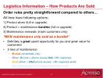 logistics information how products are sold