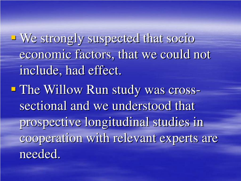 We strongly suspected that socio economic factors, that we could not include, had effect.