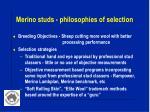 merino studs philosophies of selection