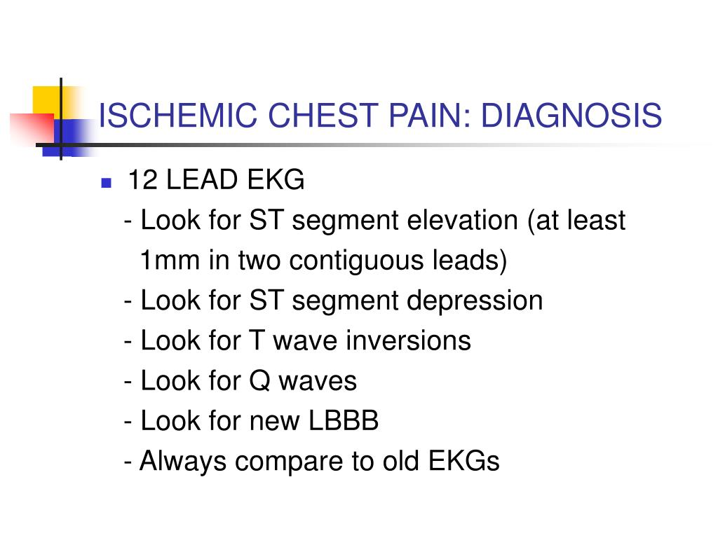 ISCHEMIC CHEST PAIN: DIAGNOSIS