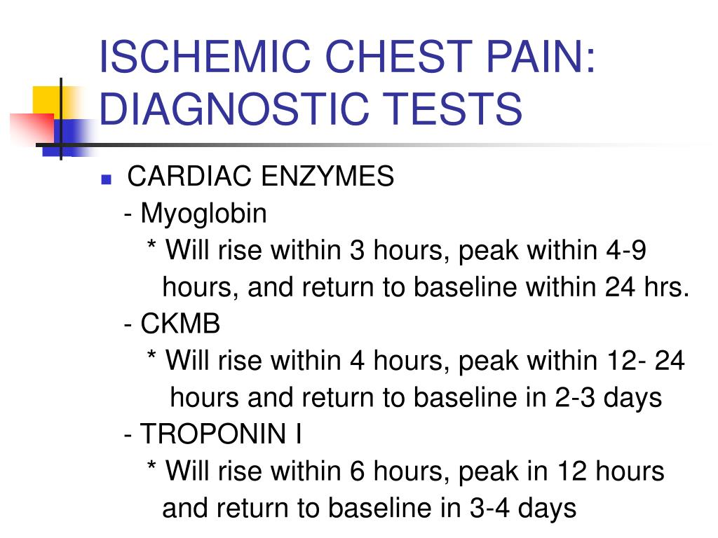 ISCHEMIC CHEST PAIN: DIAGNOSTIC TESTS