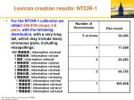 lexicon creation results ntcir 1