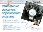 verification of concurrent object oriented programs