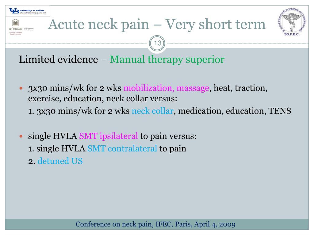Acute neck pain – Very short term