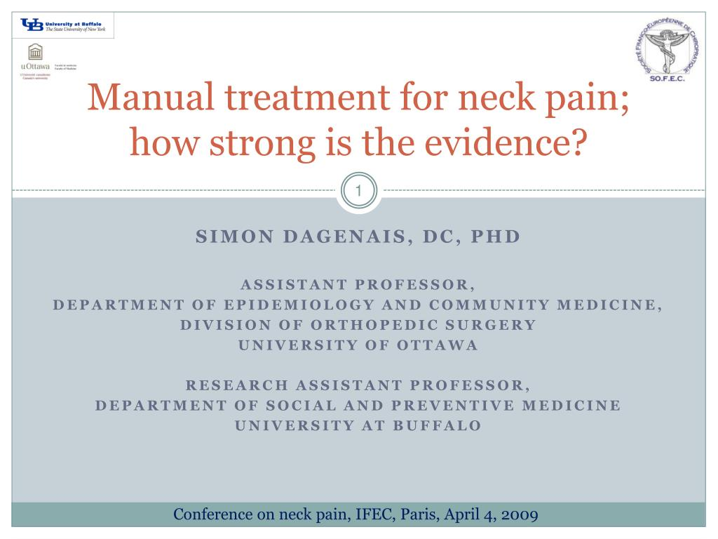 manual treatment for neck pain how strong is the evidence l.