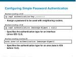 configuring simple password authentication