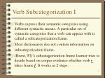 verb subcategorization i