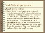 verb subcategorization ii