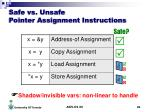 safe vs unsafe pointer assignment instructions