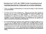 sentencia c 221 de 1994 corte constitucional despenalizacion del consumo de la dosis personal