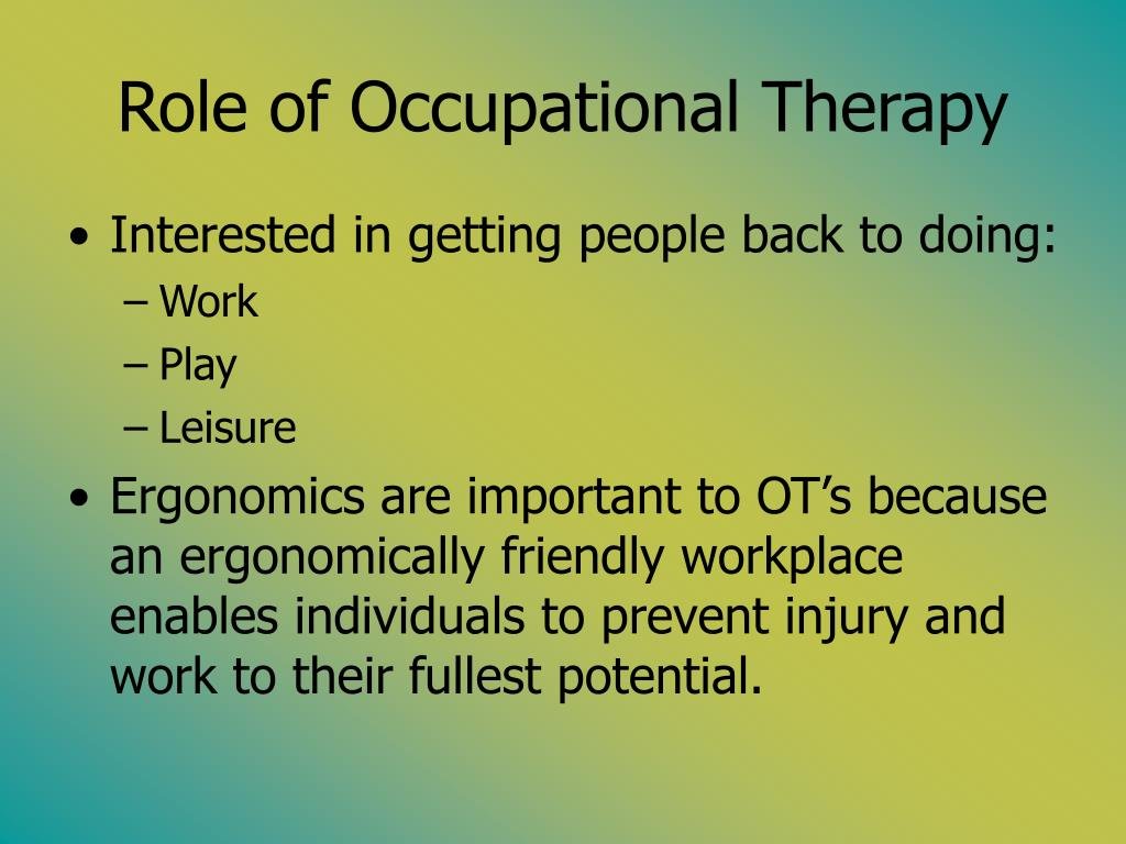 Role of Occupational Therapy