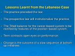 lessons learnt from the lebanese case