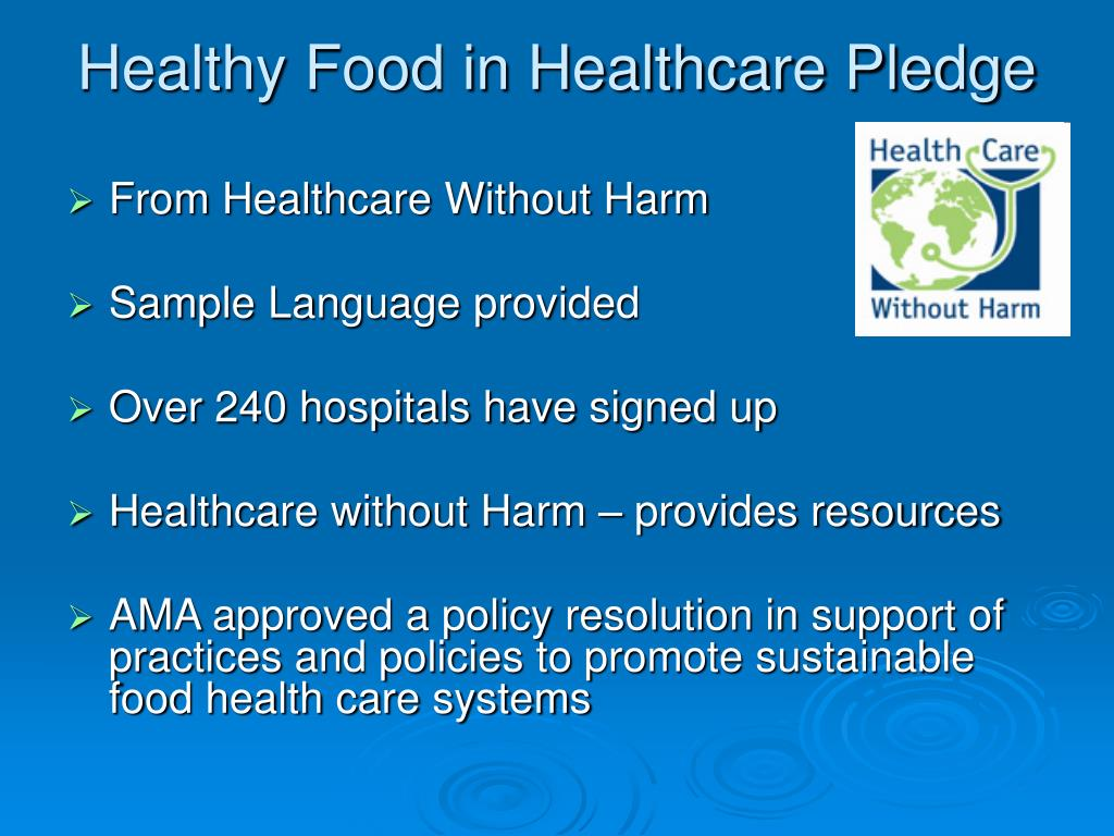 Healthy Food in Healthcare Pledge