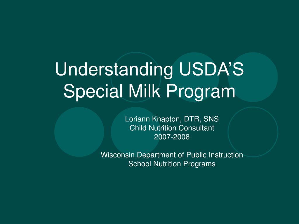 understanding usda s special milk program l.