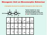 mesogenic unit on mesomorphic behaviour