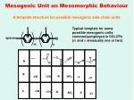 mesogenic unit on mesomorphic behaviour
