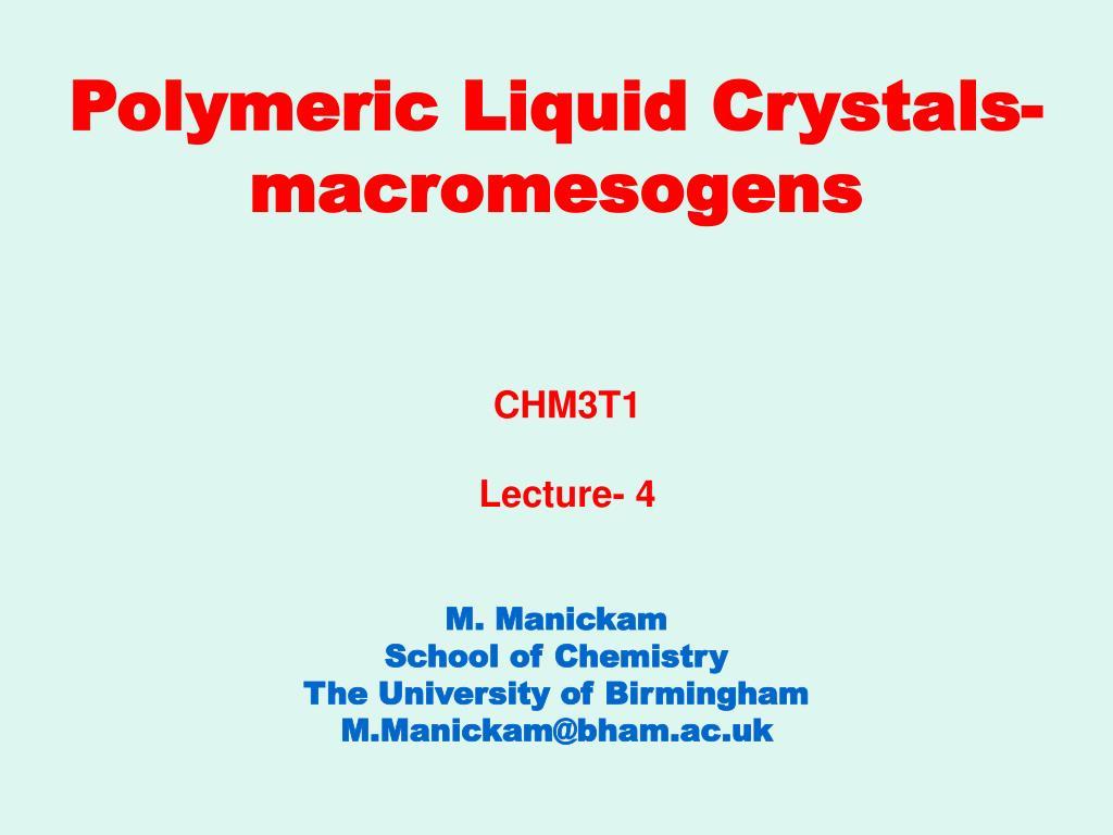 polymeric liquid crystals macromesogens l.