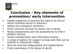 conclusion key elements of prevention early intervention