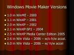 windows movie maker versions