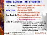 metal surface test of militec 1