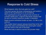 response to cold stress