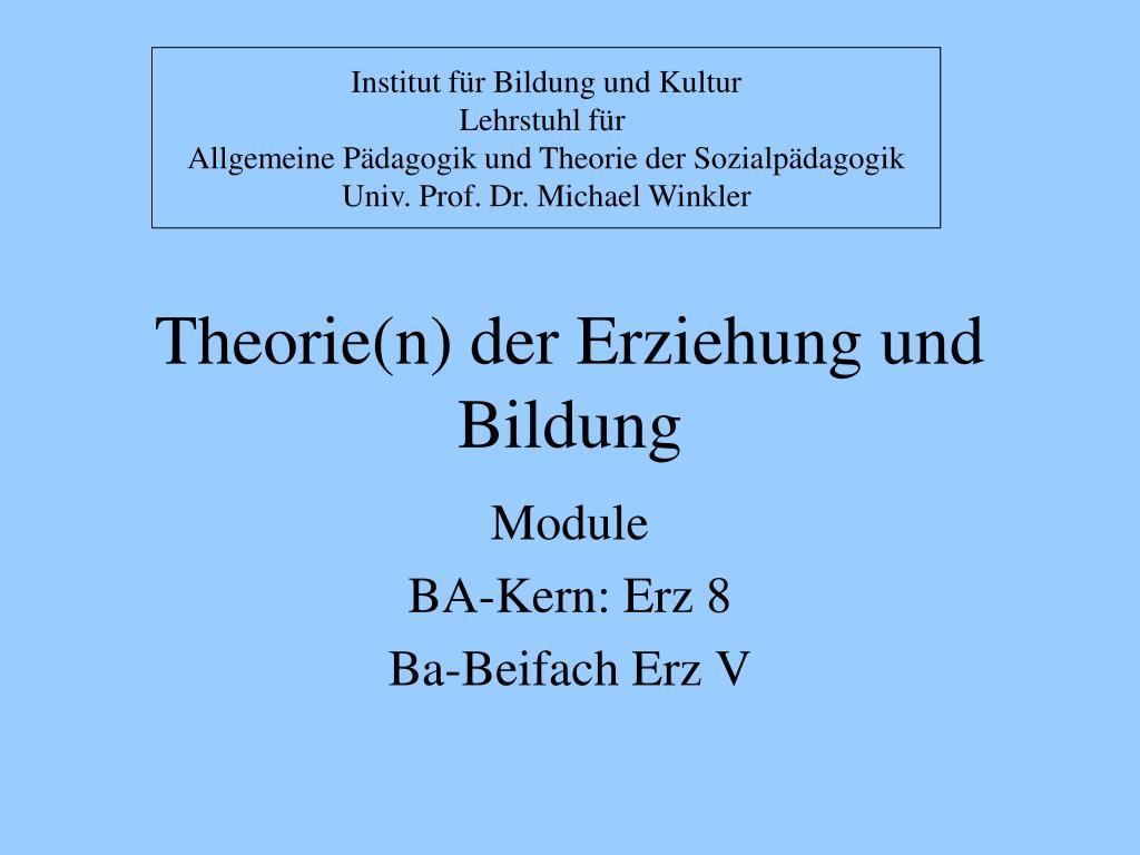 theorie n der erziehung und bildung l.