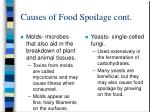 causes of food spoilage cont