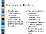 fat content in food cont