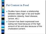 fat content in food
