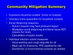 community mitigation summary