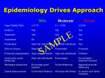 epidemiology drives approach