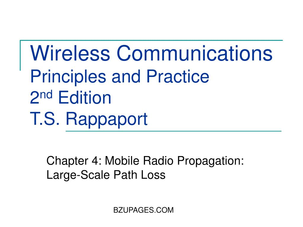 wireless communications principles and practice 2 nd edition t s rappaport l.