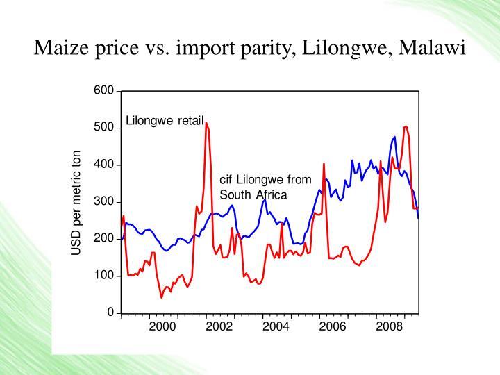 Maize price vs import parity lilongwe malawi