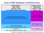 cost of 2007 epidemic in burkina faso