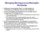 managing meningococcal meningitis worldwide