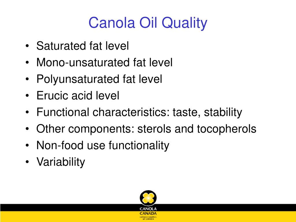 Canola Oil Quality