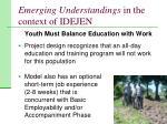 emerging understandings in the context of idejen