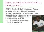 haitian out of school youth livelihood initiative idejen