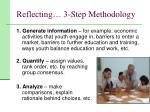 reflecting 3 step methodology