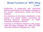broad functions of wpc wing contd