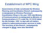 establishment of wpc wing