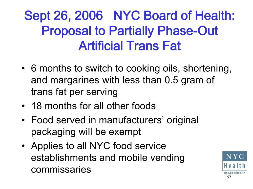 Sept 26, 2006   NYC Board of Health:
