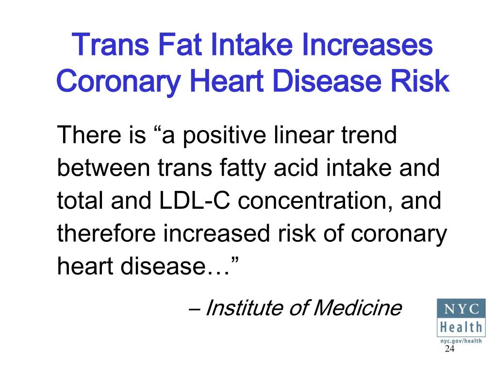 Trans Fat Intake Increases