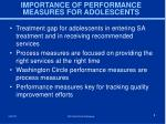 importance of performance measures for adolescents