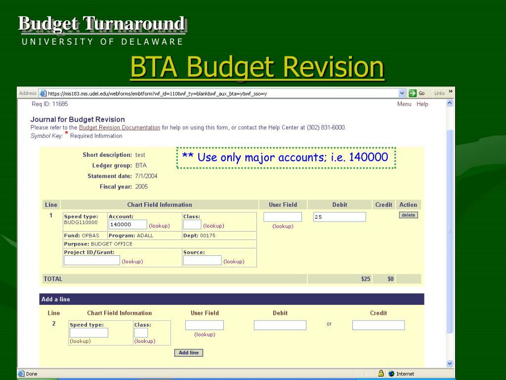 BTA Budget Revision
