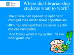 where did librarianship students want to work