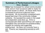 summary of performance linkages kimo example